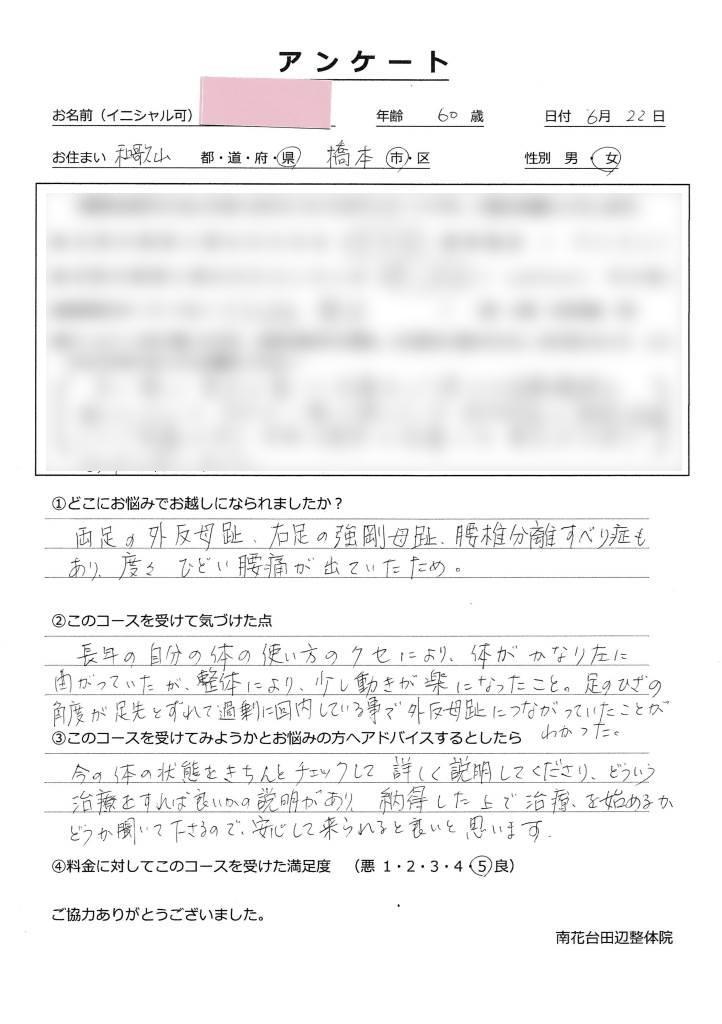 外反母趾の個別相談を受けた橋本市60代の女性のアンケート